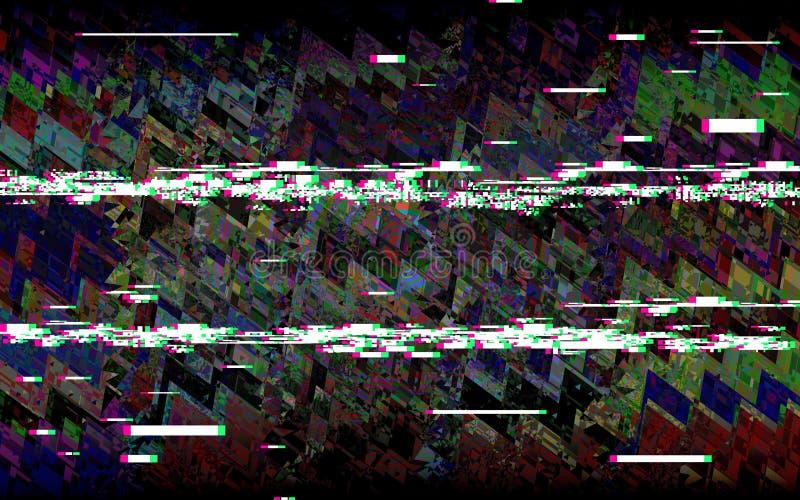 Glitch televisie Retro VHS-achtergrond Digitaal pixellawaai Abstract ontwerp Geen Signaal Vector illustratie stock illustratie