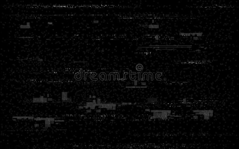 Glitch television on black backdrop. White and black distortions. Video problem retro VHS lines. No signal template royalty free illustration