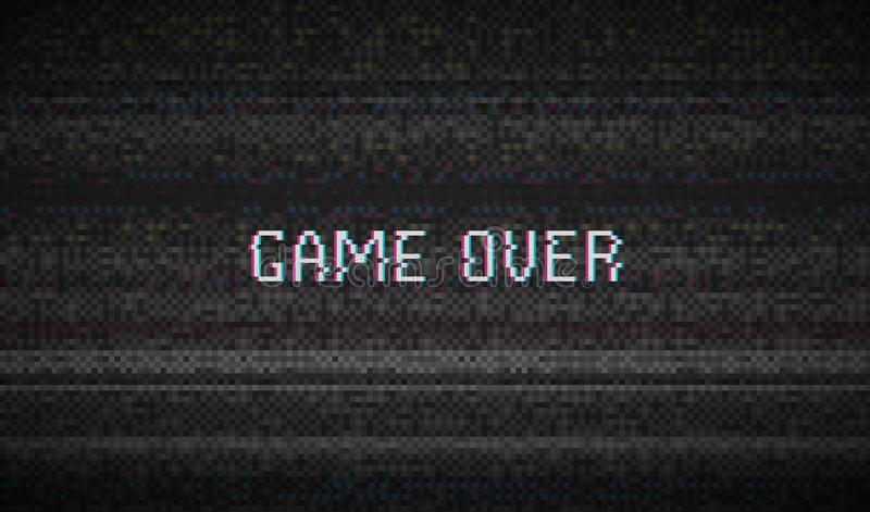 Glitch Texture pixel noise. Test TV Screen Digital VHS Background. Game Over. Error Computer Video. Abstract black. Damage royalty free illustration