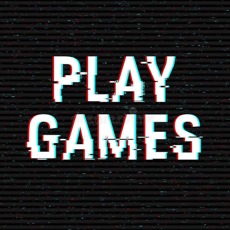 Glitch van spelspelen tekst Anaglyph 3D effect Technologische retro achtergrond Vector illustratie Het creatieve malplaatje van h vector illustratie