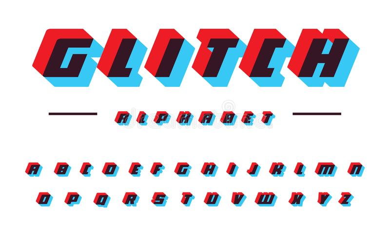 Glitch vector latin alphabet. Speed moving bold italic font. Applique letters, color offset effect. Futuristic. Technology abc signs. Sport logo template set royalty free illustration