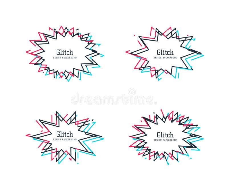 Glitch vervormingskaders Vectorreeks van de bel van de starbursttoespraak, die als grenzen kan worden gebruikt of outlies modern stock illustratie