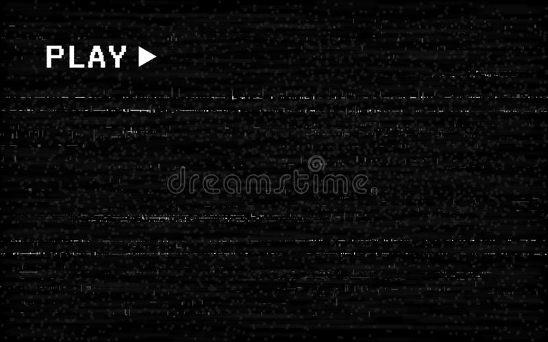 Glitch VHS效应 旧相机模板 黑色背景上的白色水平线 视频倒带纹理 无信号 皇族释放例证