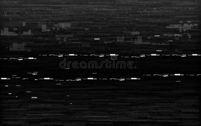 Glitch VHS black and white. Analog distortion effect with white noise and random lines. Rewind or pause concept. Retro vector illustration