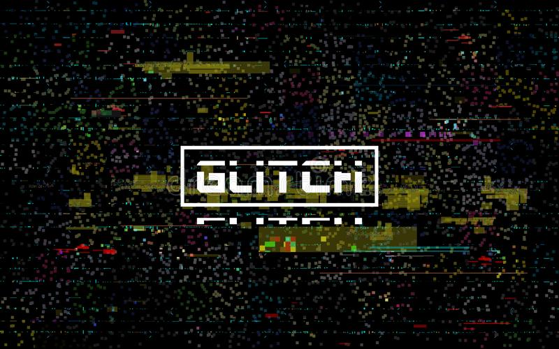 Glitch video template. Color distortions and pixel noise. Digital data error. TV no signal. Damaged television backdrop. Abstract glitched lines. Vector vector illustration