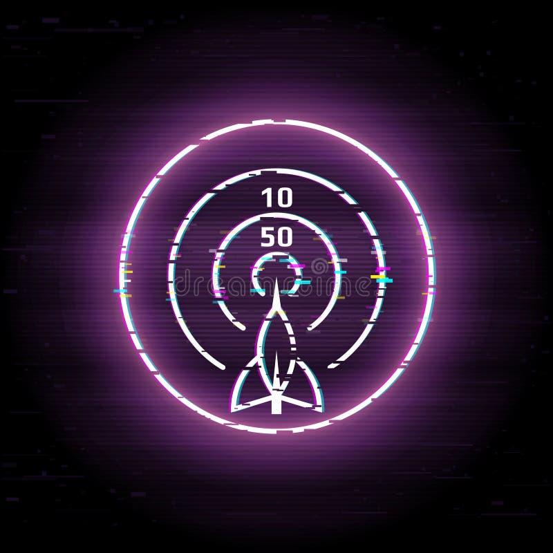 Glitched箭 3d企业照片回报了目标 对组织工作 库存例证