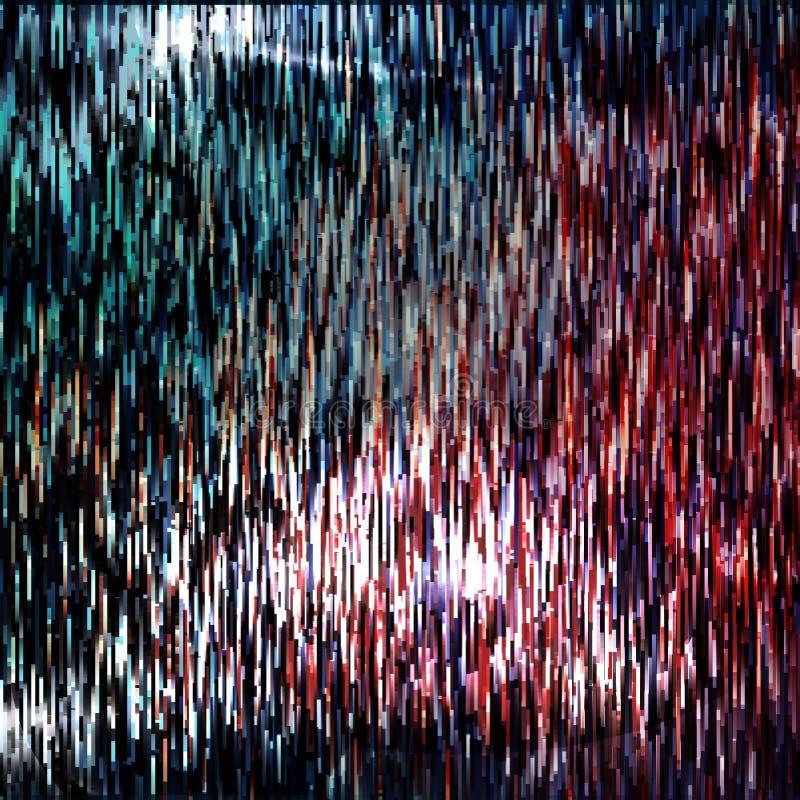 Glitched线和五颜六色的长方形形状 束崩溃的大数据 在黑暗的数字式空间的信号错误 抽象bac 库存例证