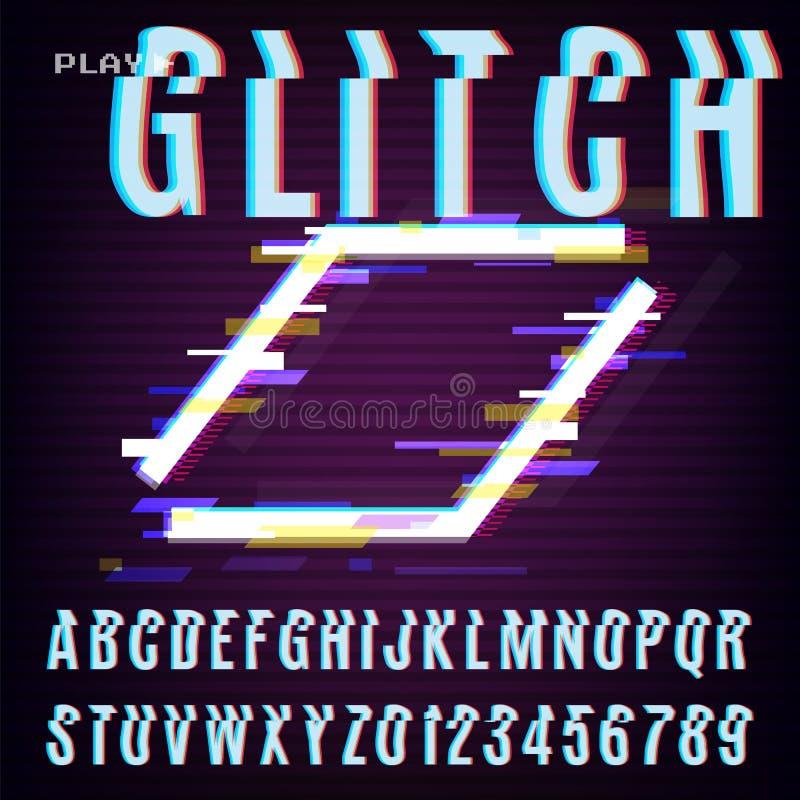Glitched Abstract Ontwerp Vervormde Glitch Stijl Retro Achtergrond en Doopvont VHS - Banner, Affiche, Vlieger, Brochure Vectorill stock illustratie