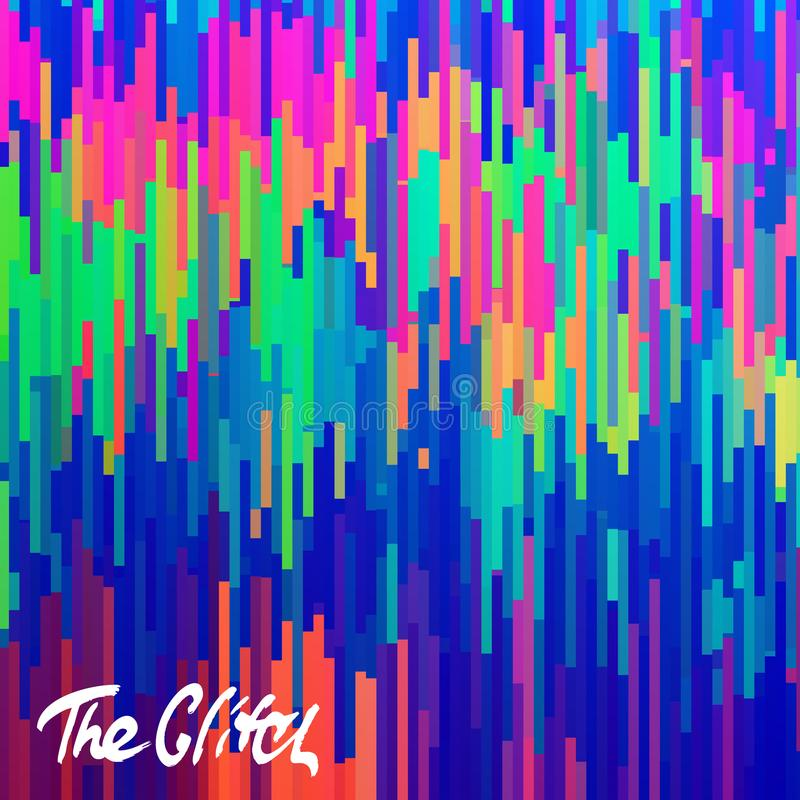 Glitched abstract vector background made of colorful pixel mosaic. Digital decay, signal error, television fail. vector illustration