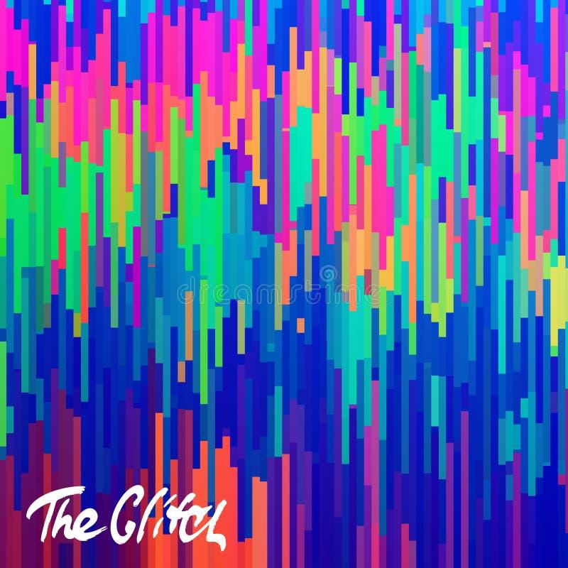 Glitched abstrai o fundo do vetor feito do mosaico colorido do pixel Deterioração de Digitas, erro do sinal, falha da televisão ilustração do vetor
