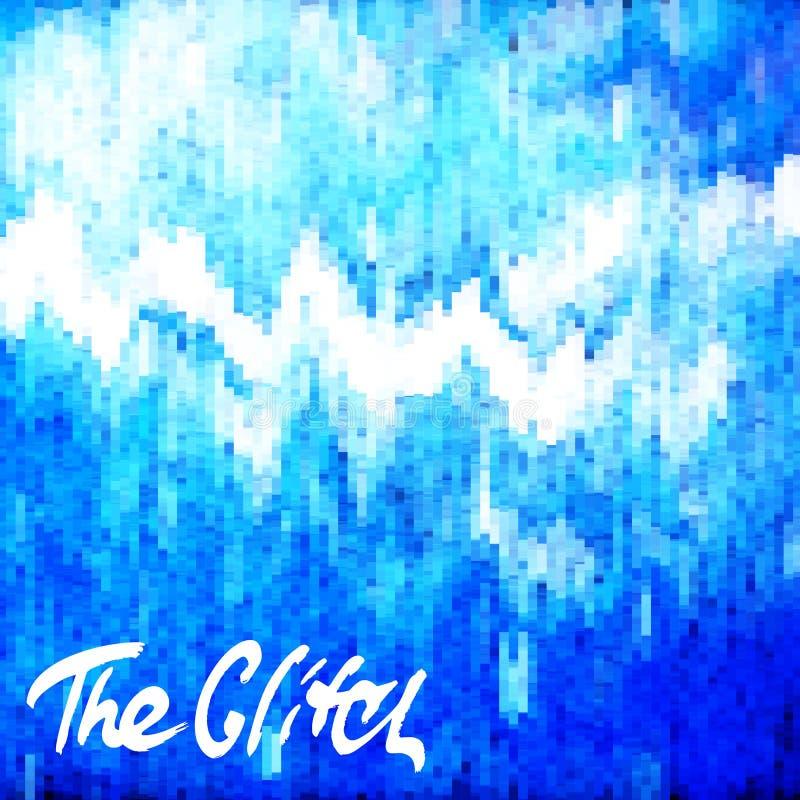 Glitched abstrai o fundo do vetor feito do mosaico colorido do pixel Deterioração de Digitas, erro do sinal, falha da televisão ilustração royalty free