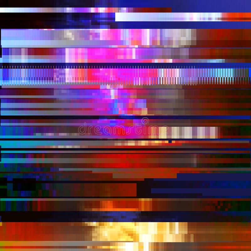 Glitched abstrakcjonistyczny wektorowy tło robić kolorowa piksel mozaika Digital gnije, sygnałowy błąd, telewizyjny fail modny ilustracja wektor
