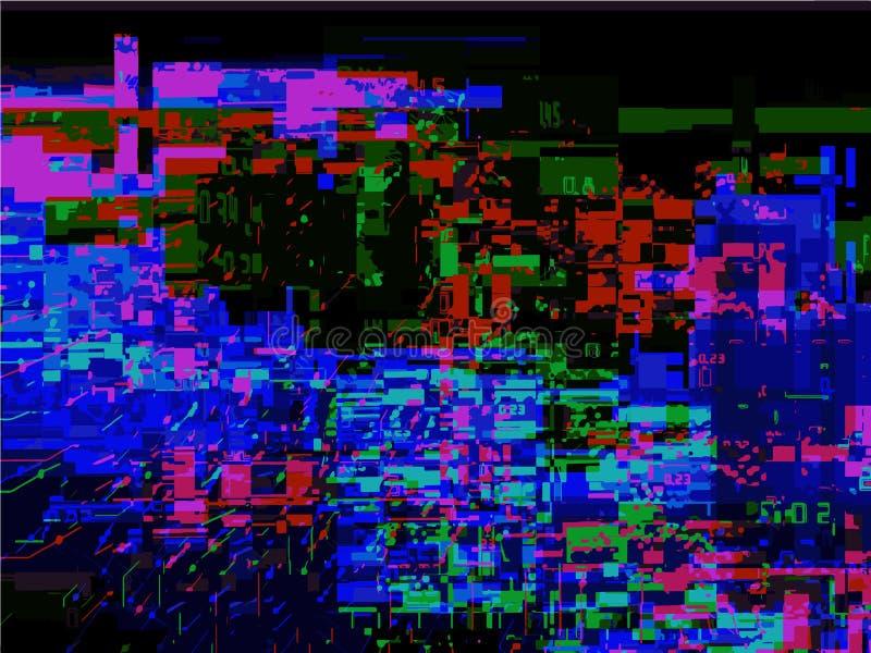 Glitched bakgrund Fel för signal för slumpmässigt oväsen Abstrakt bakgrund av den f?rgrika PIXELmosaiken stock illustrationer