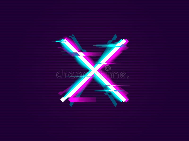 Glitched cross or X Design vector illustration