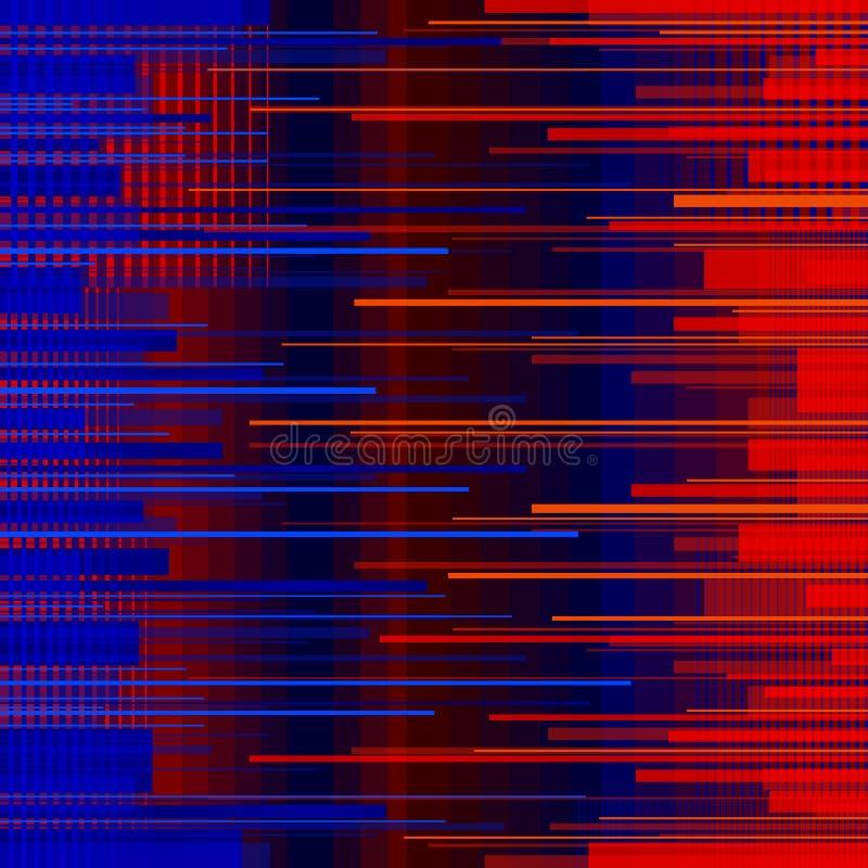 Glitched horyzontalni lampasy Kolorowi nocy światła Cyfrowego sygnału błąd Abstrakcjonistyczny tło dla plakata, pokrywa royalty ilustracja