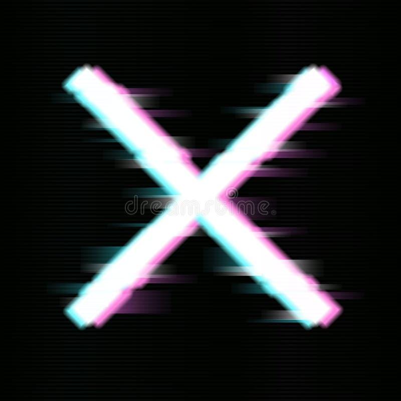 Glitched-Kreuz oder x-Entwurf Verzerrte St?rschub-Art Taube als Symbol der Liebe, pease vektor abbildung