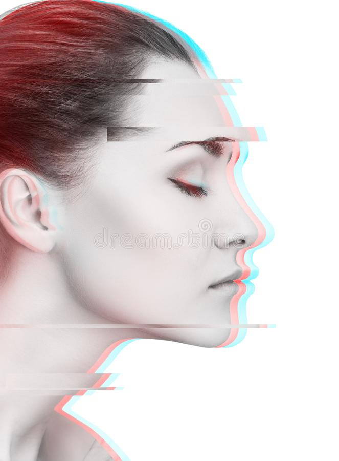 Glitched portrait of young woman in profile view stock photos