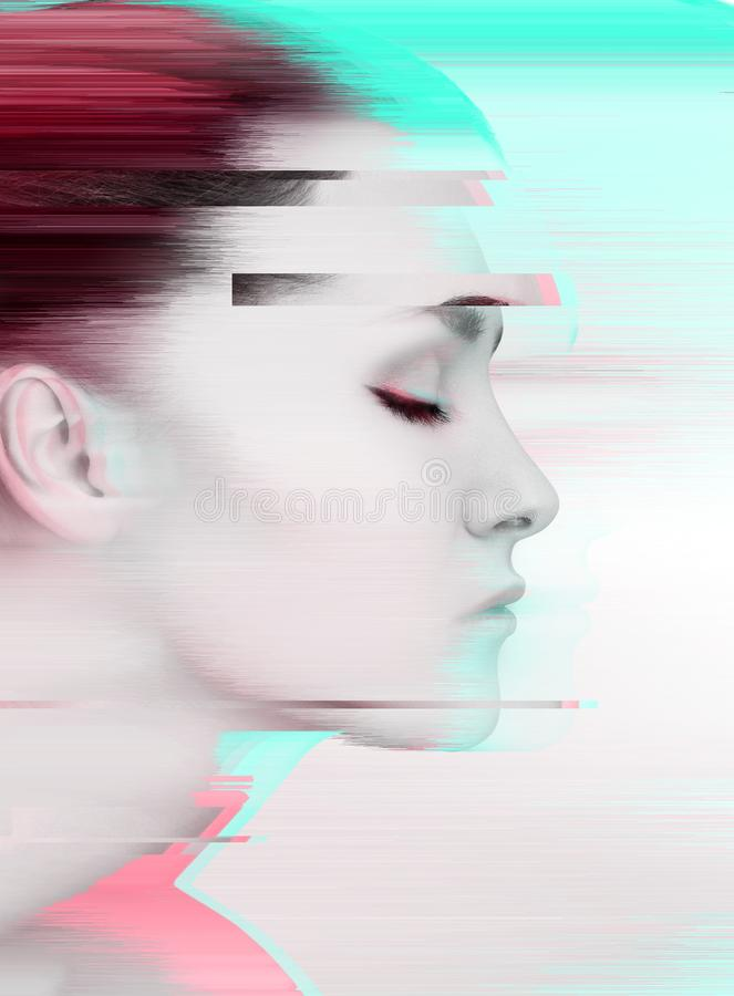 Glitched portrait of young woman in profile view royalty free stock images