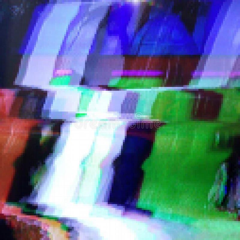 Glitched resume el fondo del vector hecho de mosaico colorido del pixel stock de ilustración