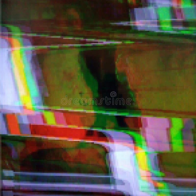 Glitched soustraient le fond de vecteur fait en mosaïque colorée de pixel Délabrement de Digital, erreur de signal, échouer de té illustration libre de droits