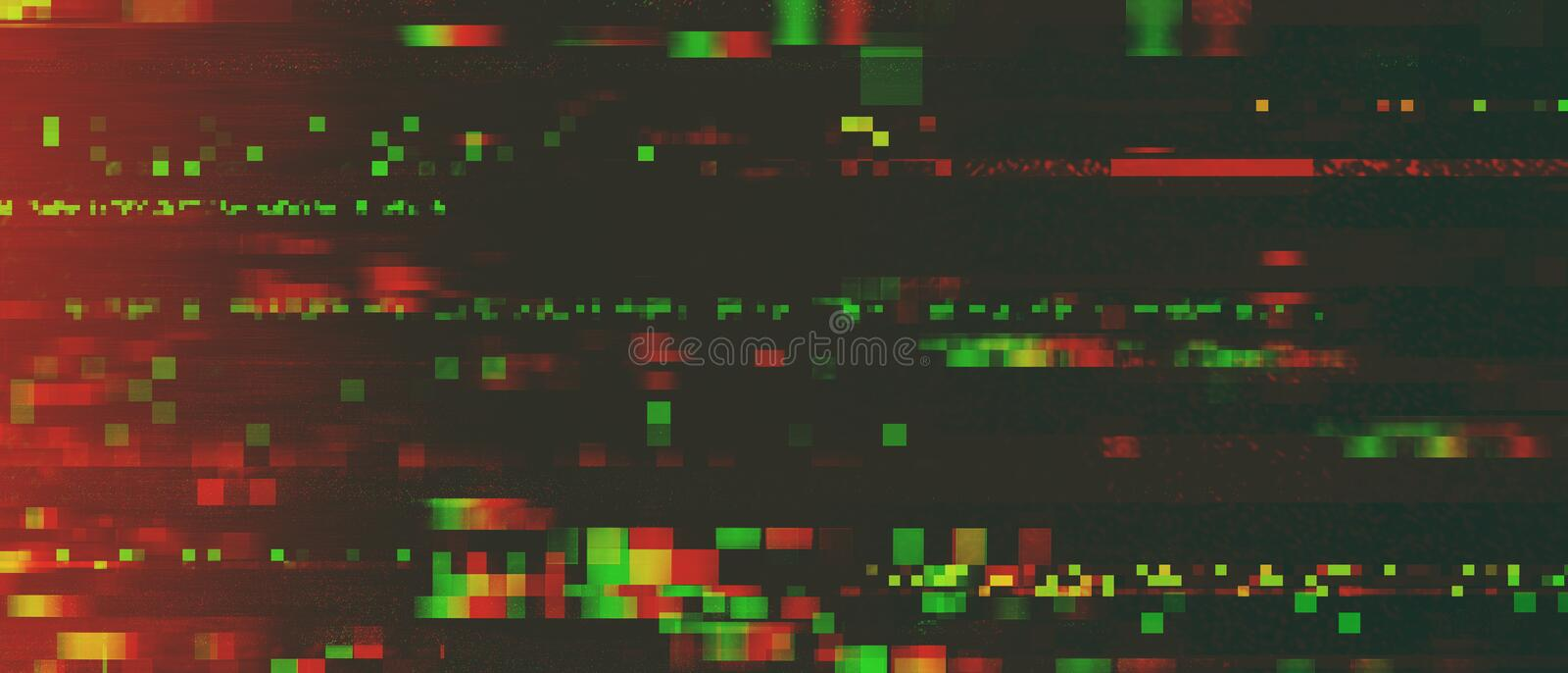 Glitchy pixelated signal distortion background stock photo