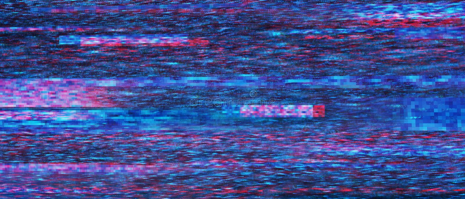 Glitchy retro VHS bad signal background stock image
