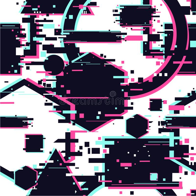 Glitchy seamless pattern. Abstract texture with glitch effect. Surface with destortion effect. Geometric cyberpunk stock illustration