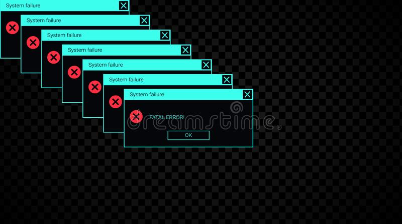 Glitchy system fail error message. Neon UI of an alert popup stock illustration