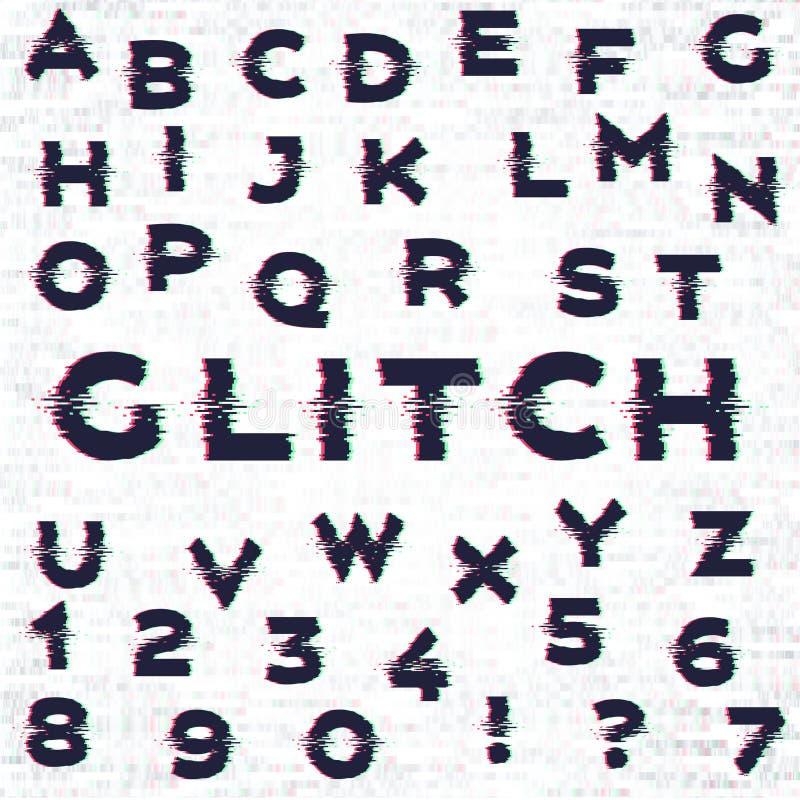 Glith alfabet med oväseneffekt royaltyfri illustrationer