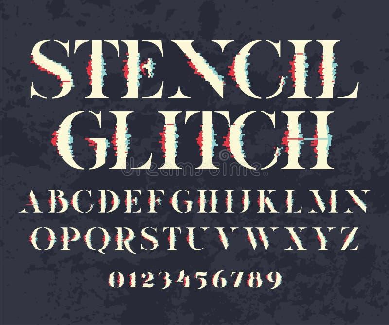 Glith stilsort och nummer stock illustrationer