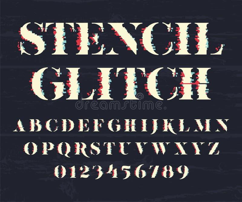 Glith stilsort och nummer royaltyfri illustrationer