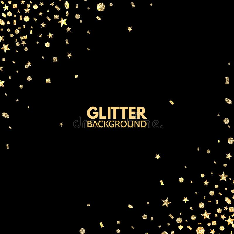 Glitter background. Bright Merry Christmas frame. Golden sparkle on black backdrop. Falling glitter confetti. Vector royalty free illustration