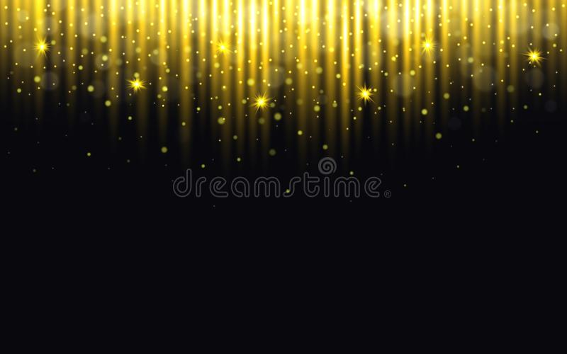 Glitter background. Christmas lights with bokeh. Gold particles on black backdrop. Greeting card with golden dust. New. Year concept. Bright falling confetti royalty free illustration