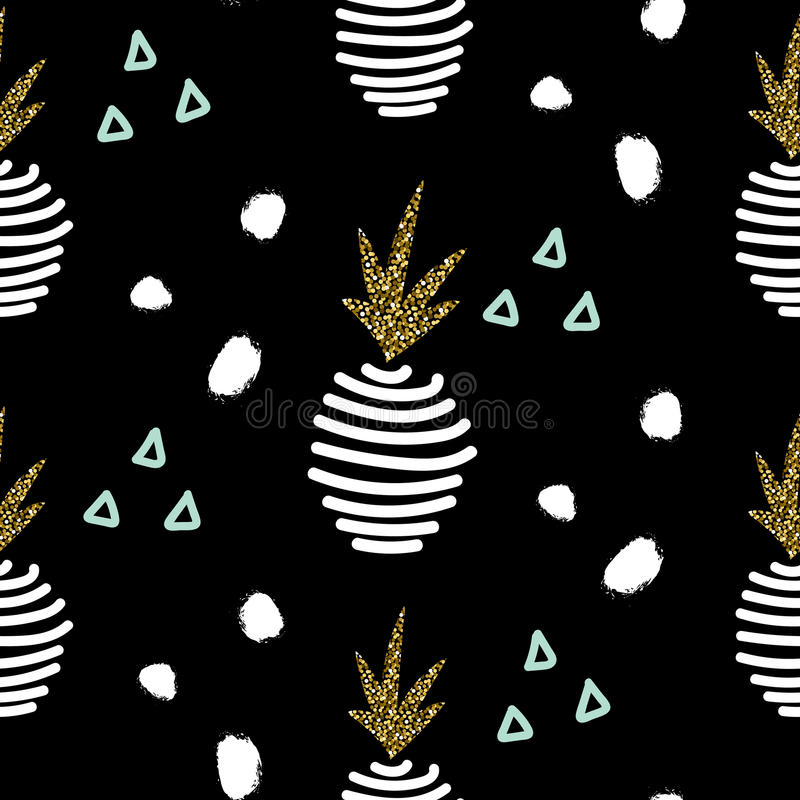Glitter black scandinavian pineapple ornament. Vector gold seamless collection. vector illustration