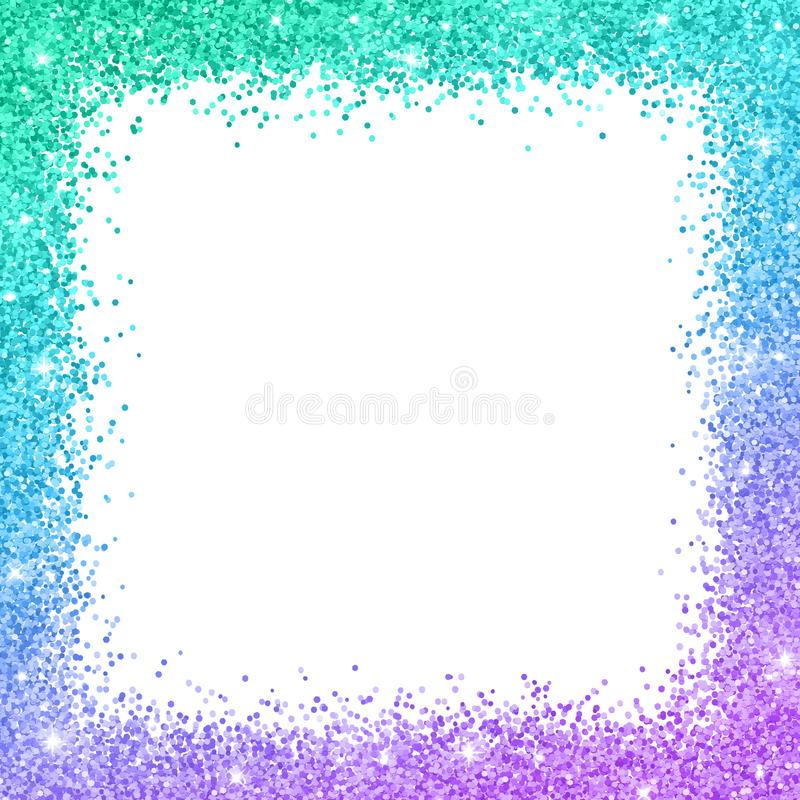 Glitter border frame with turquoise blue purple color effect. Vector stock illustration