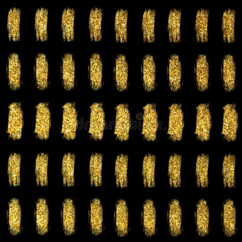 Glitter brush strokes background. Glitter stripes confetti. Glitter gold sparkle texture. royalty free illustration