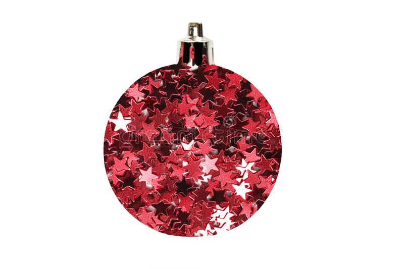 Glitter christmas ball. Decorative christmas ball made of red stars glitter isolated over white stock image