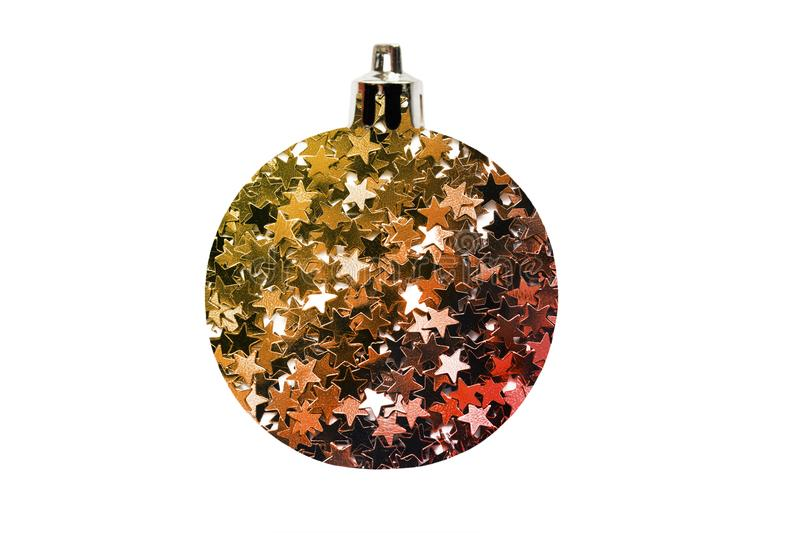 Glitter christmas ball. Decorative christmas ball made of golden and red stars glitter on white background stock image