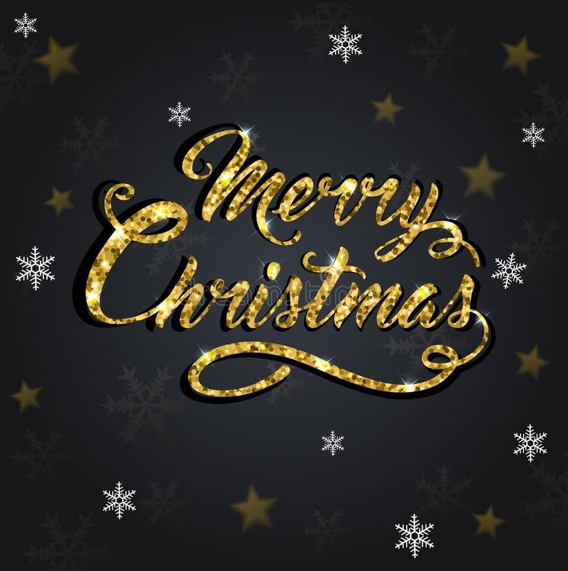 Glitter Christmas greeting inscription. Golden glitter Christmas greeting inscription on a black background. Design for Christmas card stock illustration