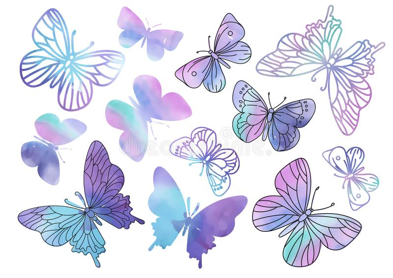 Fairy Clipart PURPLE BUTTERFLIES Color Vector Illustration Magic Beautiful Picture Paint Drawing Set Scrapbooking Golden stock photo