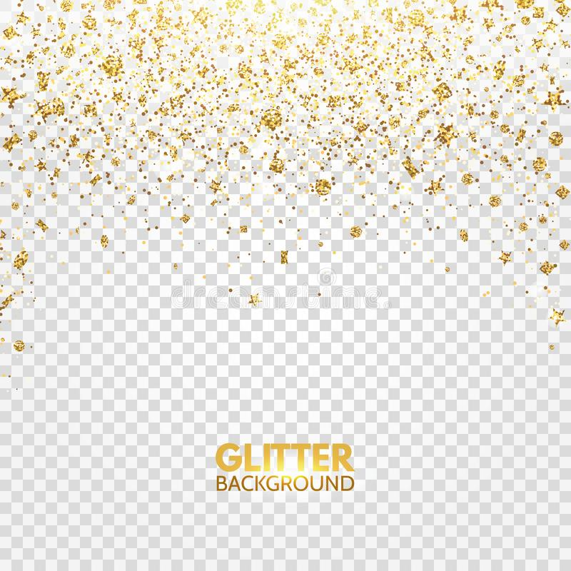 Glitter confetti. Gold glitter falling on transparent background. Christmas bright shimmer design. Glowing particles effect for lu stock illustration