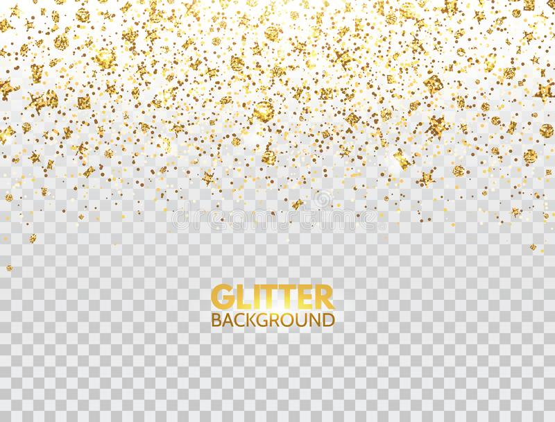 Glitter confetti. Gold glitter particles falling on transparent background. Christmas bright shimmer design. Glowing royalty free stock photo