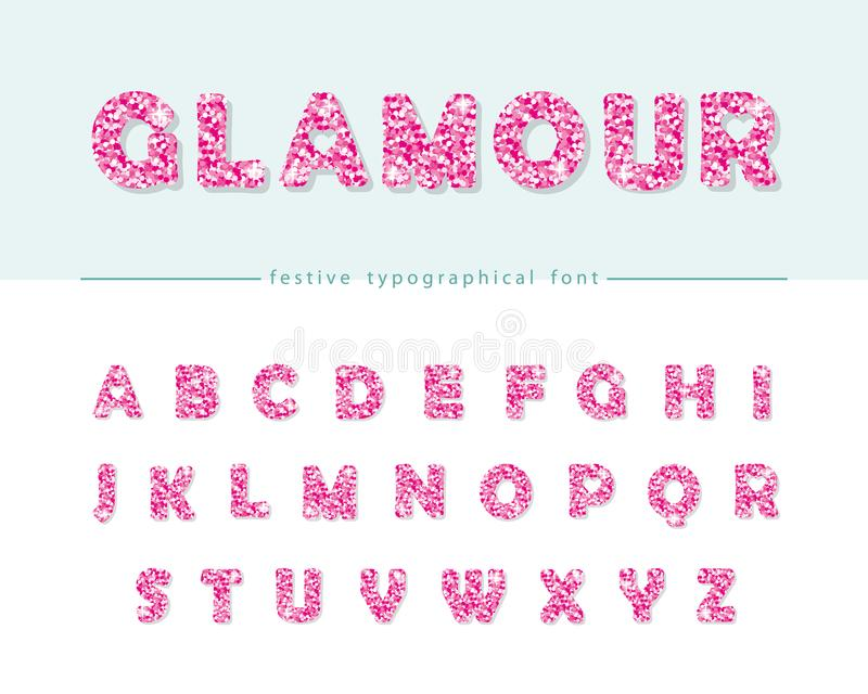 Glitter Confetti Pink Font On White Glamour Alphabet For Valentine