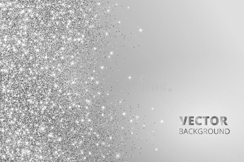 Glitter confetti, snow falling from the side. Vector silver dust, explosion on grey background. Sparkling border, frame vector illustration