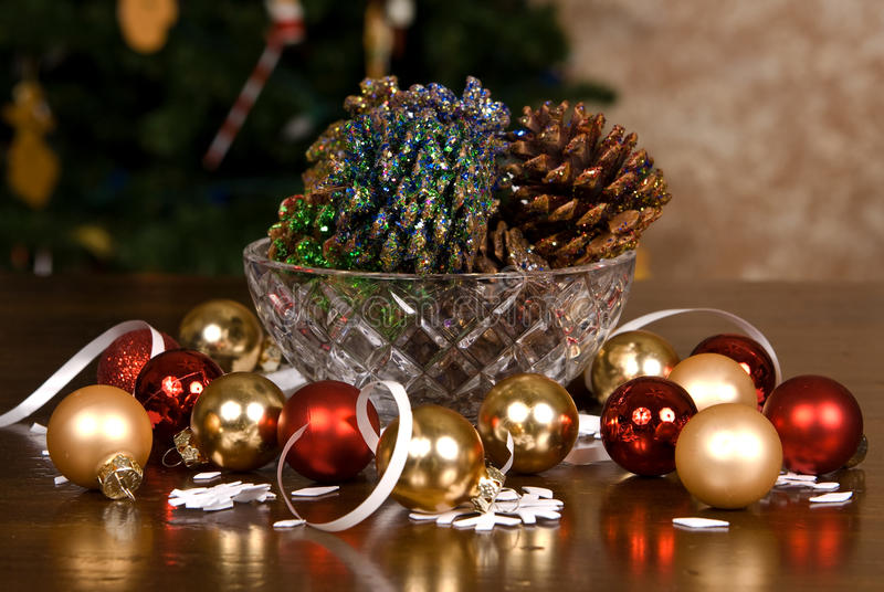 Glitter Covered Pine Cones And Christmas Bulbs Stock Photo