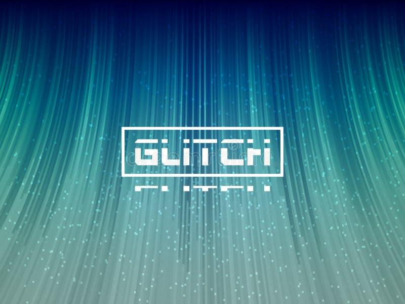 Glitter 3d-Strecken Stilisierte Verzeichnung mit Welleneffekt Abstrakter futuristischer Banner Cyberpunk-Hintergrund mit Pixelrau vektor abbildung