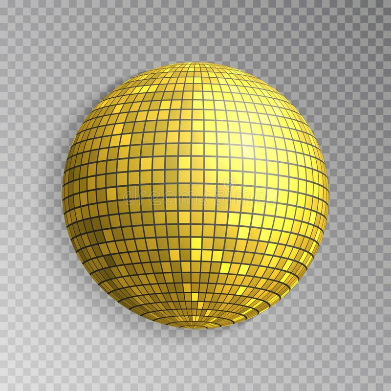 Glitter disco ball vector. Golden mirrorball isolated. Discoball shine light effect. Night club deco stock illustration