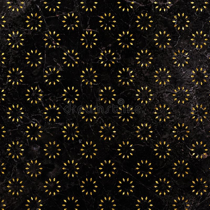 Glitter floral ornament pattern on marble background. Glitter geometric pattern. Gold florals background. stock illustration