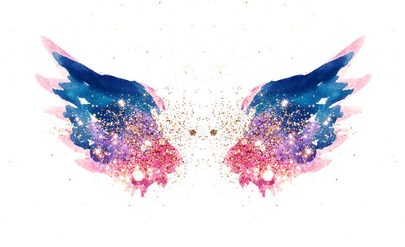 Glitter and glittering stars on abstract pink and blue watercolor wings in vintage nostalgic colors royalty free illustration
