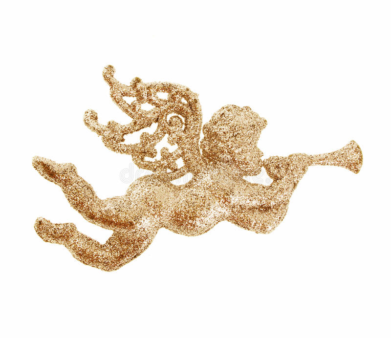 Glitter gold Angel Christmas toy. Isolated on white stock photos